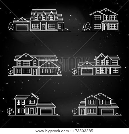 Set of vector thin line icon suburban american houses. For web design and application interface, also useful for infographics. American houses icon design on the chalkboard.