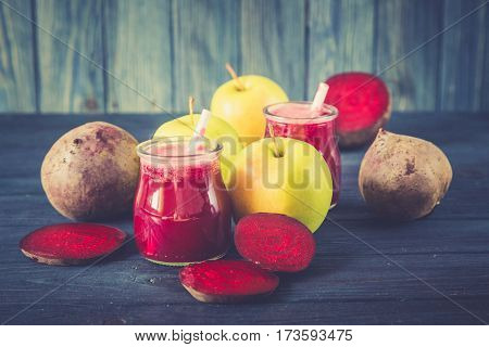 Healthy Fresh Detox Beetroot And Apple Juice In Glass