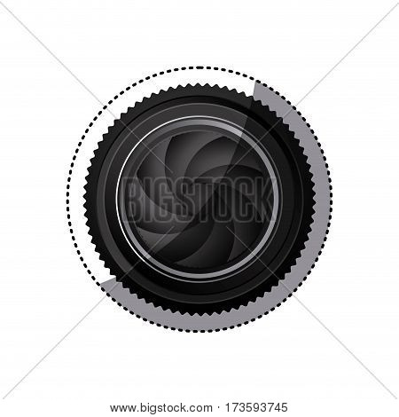 sticker realistic silhouette color with closed shutter analog camera lens vector illustration