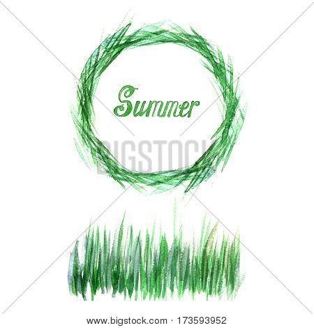 Wheat in a circle, wheat grass green watercolor. Logo, banner, frame for business, the store site for clean super food on a white background. Easter design.