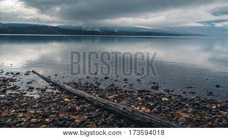 Image of Lake McDonald on an overcast day.