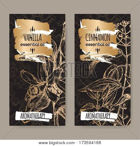 Set of two labels with Vanilla planifolia aka Vanilla and Cinnamomum verum aka cinnamon sketch on elegant balck lace background. Aromatherapy series.