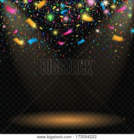 Colorful sparkling confetti with blurred elements on black background with spotlight vector