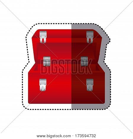 sticker colorful red tool box vector illustration