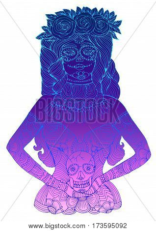 Vector hand drawn line girl with calavera makeup with flowers in her hair holding sugar skull. Mexican holiday Day of the Dead. Halloween costume party, page A4 size. Isolated on a background