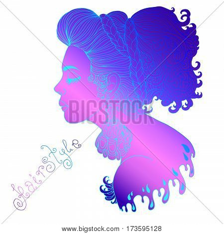 Vector hand drawn portrait in profile of a stylish young woman with closed eyes. Pensive girl with big patterned earrings and a braided hair braid. Isolated on white background