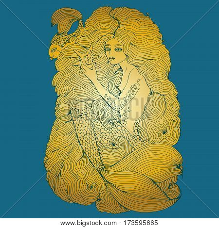 Hand drawn golden sea mermaid with long wavy hair holding a seashell. Ornamental illustration of a mermaid tattoo. Fairy tale character.