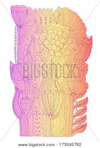 Vector hand drawn doodle pattern of unrealistic flowers in magic garden. Zentangle drawing floral carpet. Isolated on white background