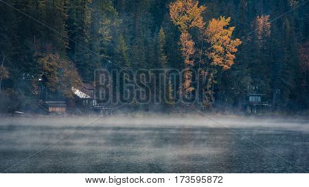 A foggy autumn morning by the lake.