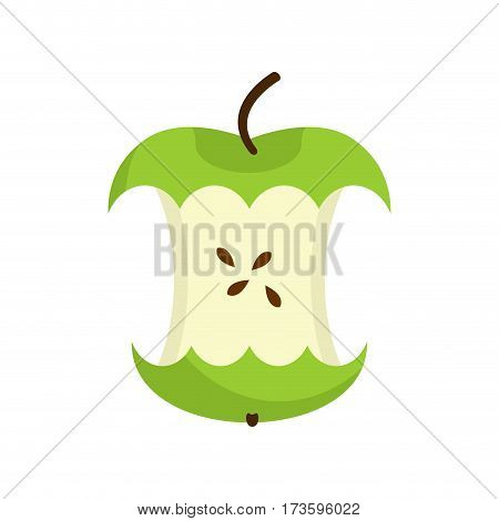 Apple Core Isolated. Fruit Trash. Rubbish On White Background. Garbage