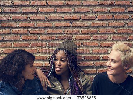 Women Sit Talk Together Friendship