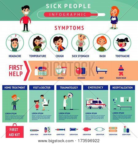 Sick people infographic template with different types of illnesses and various kinds of medical care and treatment vector illustration