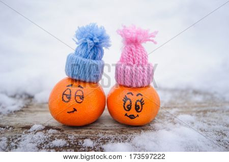 Funny Facial Expressions On The Tangerines
