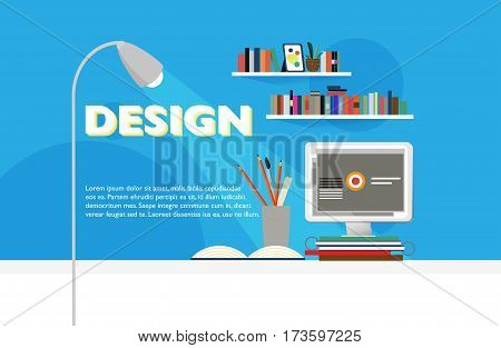 Flat workspace site template with stationery monitor plant and books on shelves on blue background vector illustration