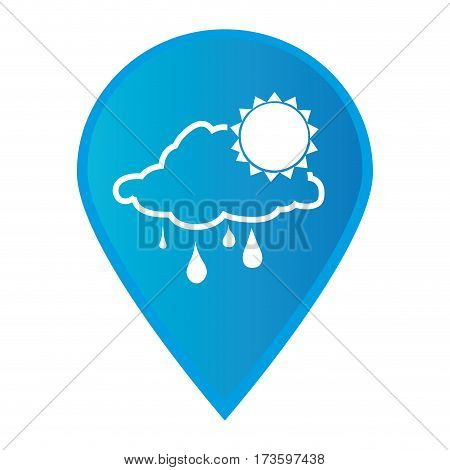 Mark icon pointer gps with silhouette rainy cloud and sun icon vector illustration