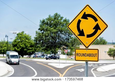 Horizontal shot of a Sign For a Roundabout Intersection.