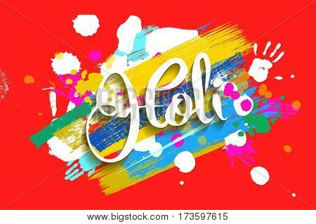 Happy Holi On A Background Of Hand Prints.