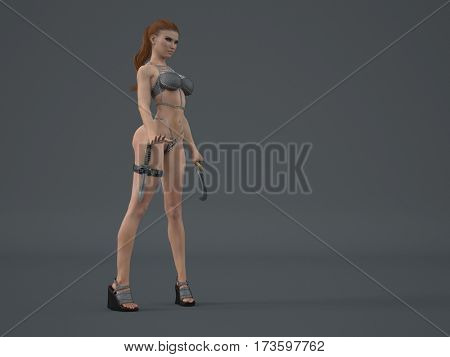3d illustration of the fantasy warrior woman with sword