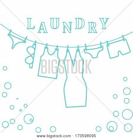 Laundry illustration blue lines Clothes drying on a rope. Linen and soap bubble.