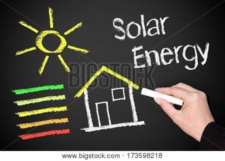 Solar Energy - house or home with sun and energy efficiency