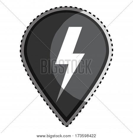 sticker monochrome Mark icon pointer gps with lightning icon vector illustration