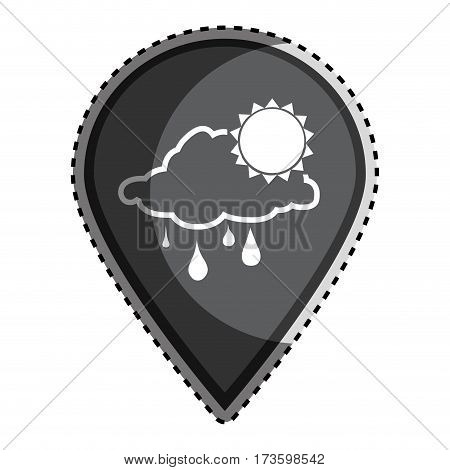sticker monochrome Mark icon pointer gps with silhouette rainy cloud and sun icon vector illustration