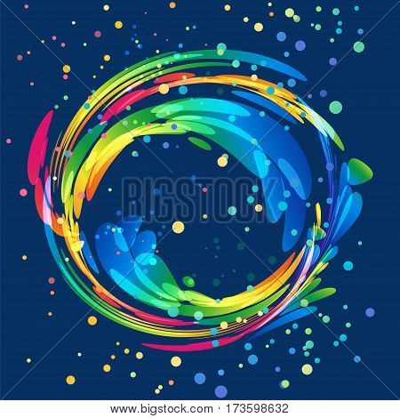 Multicolored round abstract element on dark background