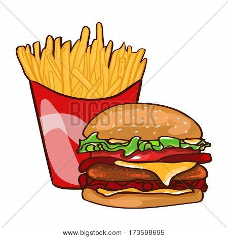 Colorful fast food concept with hamburger and french fries in flat style isolated vector illustration