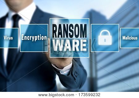 Ransomware touchscreen is operated by businessman picture