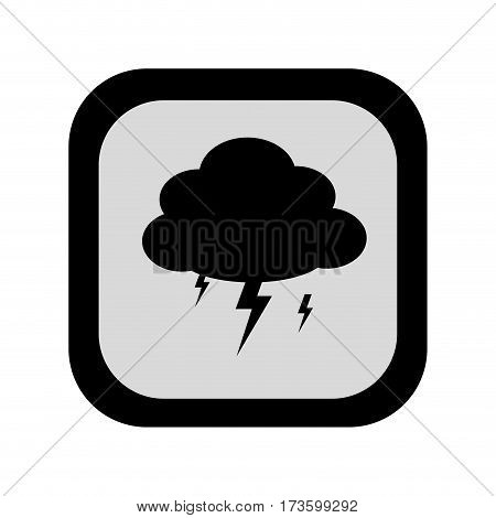 black silhouette square frame with rain storm weather icon vector illustration
