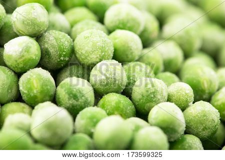 Vegetable Food Background, Healthy Vegetarian Natural Meal. Fresh Frozen Peas