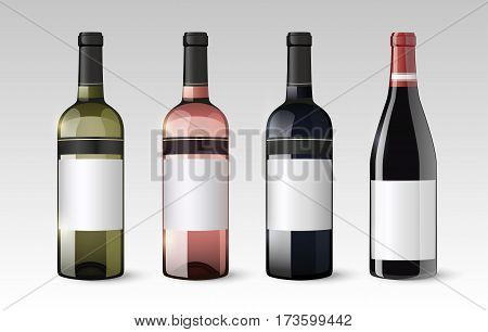 Realistic glass bottles set with white red and rose wines on gray background isolated vector illustration