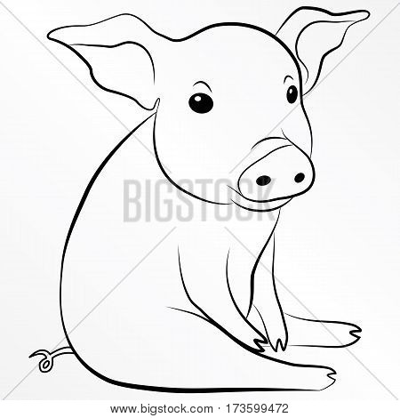 Pig, Piglet, Piggy, Swine, Hog. Eps 10 vector illustration