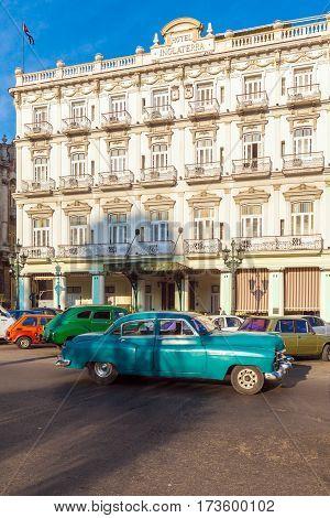 Havana, Cuba - April 2, 2012: Retro Car On Streets Of The Town Near Hotel Inglaterra