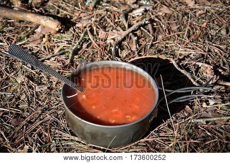 soup in the wild forest in hike time