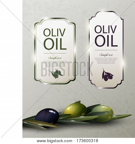 Olive oil glossy brand logos with natural organic green and black olives tree branches vector illustration