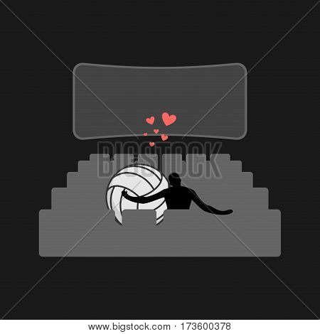 Lover Volleyball. Guy And Ball In Movie Theater. Lovers Watching Cinema. Romantic Date. Love Sport P