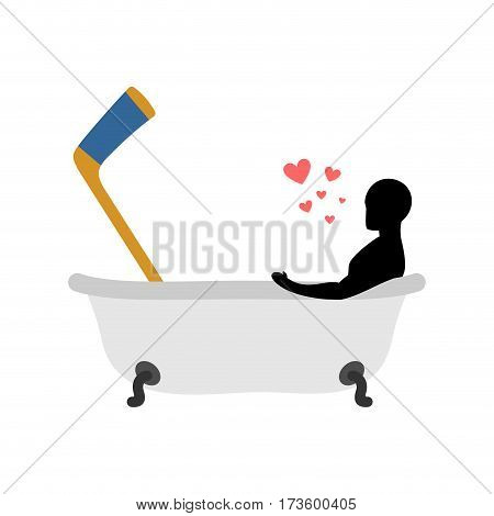 Lover Hockey. Man And Hockey Stick In Bath. Joint Bathing. Passion Feelings Among Lovers. Romantic D