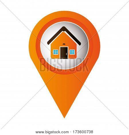 orange mark icon pointer gps with circular button facade house vector illustration