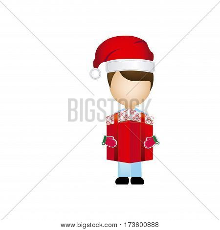 boy faceless with gift christmas vector illustration
