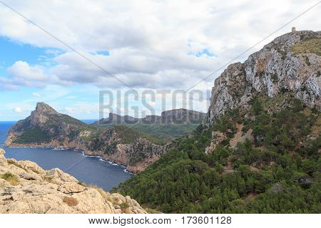 Cap De Formentor Cliff, Mediterranean Sea And Watchtower Talaia D'albercutx, Majorca, Spain