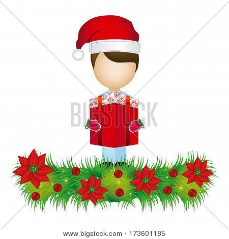boy faceless with gift and wreath with christmas flowers decorative vector illustration