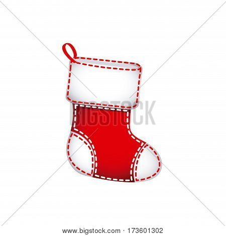 red christmas socks with fur and ornaments vector illustration