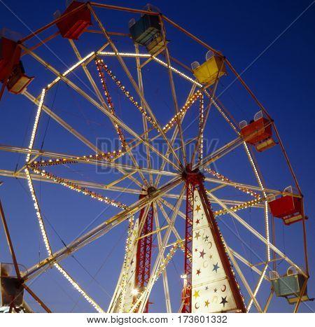 Big wheel at Kingston upon Hull fair at night Hull East Riding of Yorkshire UK.