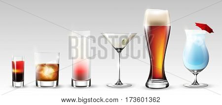 Full glasses set of different shapes with alcohol drinks beverages and cocktails isolated vector illustration