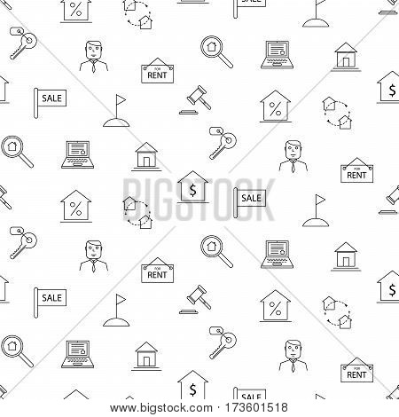 Real estate black and white line icon seamless vector pattern. Business industry background.