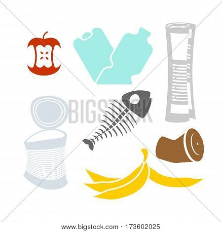 Garbage Set. Rubbish Icon Collection. Trash Sign. Litter Symbol. Peel From Banana And Stub. Tin And