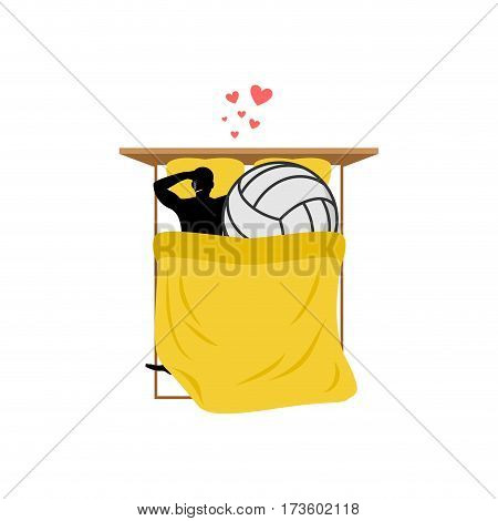 Lover Volleyball. Guy And Ball In Bed. Lovers In Bedroom. Romantic Date. Love Sport Play Game