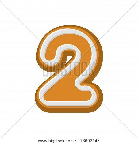 Number 2 Gingerbread Font. Peppermint Honey-cake Abc Two. Cookies Alphabet. Lettering Biscuit