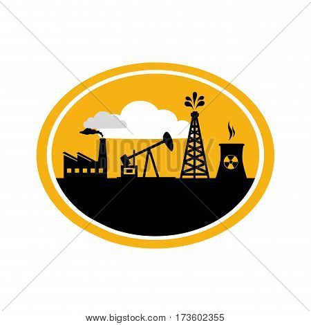 oval border with background silhouette oil extraction machine with factory radioactive materials vector illustration